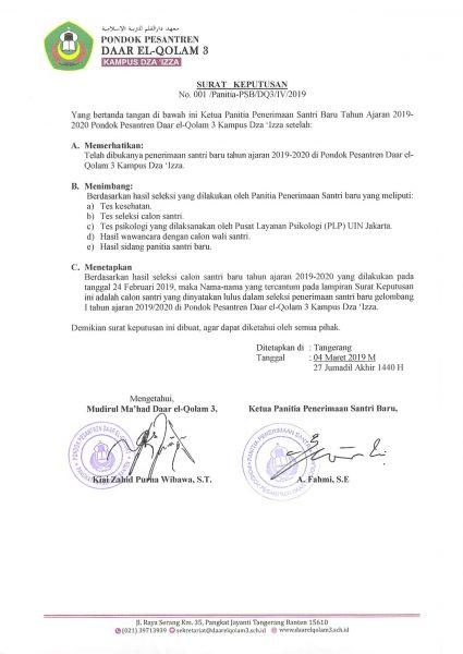 Surat Keputusan Kelulusan 2019/03/04