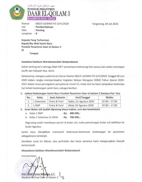 Surat Edaran Santri Baru 2020/2021
