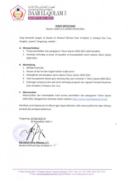 Surat Keputusan Kenaikan Kelas 2020/2021 Pondok Pesantren Daar el-Qolam 3 Kampus Dza Izza